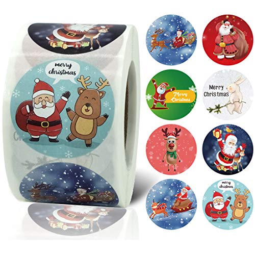 Christmas Stickers, Holiday Labels, Santa Stickers, 1.5 Inch Round Christmas Decorating Label Stickers, 500 Claus Adhesive Xmas Decorative Seals Stickers for Cards, Gift Bags, Envelopes, Boxes