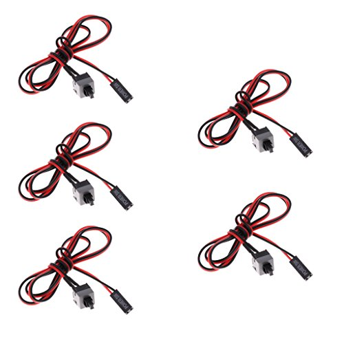 B Blesiya Paquete de 5, 2 Polos, PC, Computadora, Interruptor de Alimentación, Cable, Cable, Botón de Encendido/Apagado