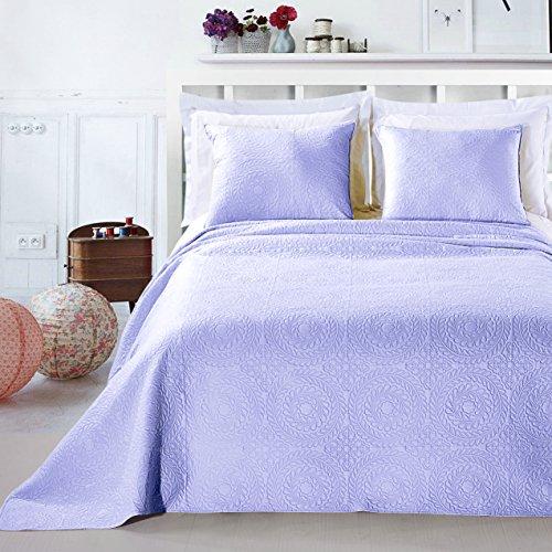DecoKing Premium 12819 Tagesdecke 220 x 240 cm lila mit 2 Kissenbezügen 50x60 cm Bettüberwurf Pflanzen leicht zu pflegen Elodie