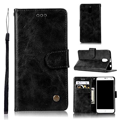 Guran® PU Ledertasche Hülle für Lenovo Vibe P1M Smartphone Flip Cover Wallet & Stent- Funktions Retro Mode Muster Etui - Schwarz