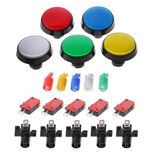 MINGSTORE 5 unids/Set 5 Colores 60mm Interruptor de botón Redondo para Jugador de Juegos Joystick de Arcade