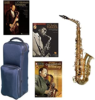 """Virtuoso Series Professional Alto Saxophone Deluxe w/3 Pack of Legends books: Best of Charlie Parker, Julian """"Cannonball"""" Adderley & Coleman Hawkins Collection"""