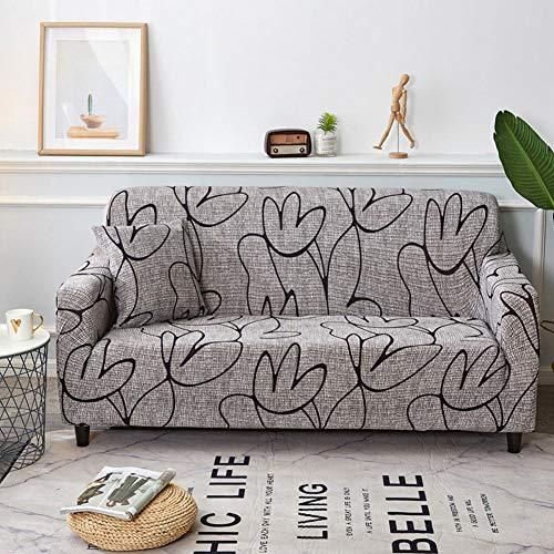 lossomly Wonderful - Funda elástica para sofá de 3 plazas, estampada, funda para sofá antideslizante, universal, respetuosa con la piel, color gris, 195-230 cm