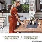 Miqio ® - Design Tischläufer aus Filz abwaschbar | Marken Label aus Echtleder | Tischband 150x40 cm | Skandinavische Deko - passend Tischsets, Platzsets, Tischdecken | dunkel grau - 3