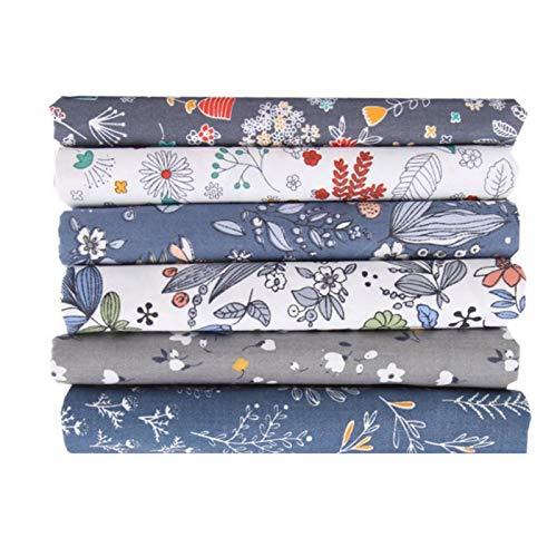 SALUTUYA Exquisito patrón único 6 Piezas de Tela de algodón de Bricolaje Gris Claro 50 x 40 cm para Coser edredones, Bolsos, muñecas, Ropa de Cama para niños