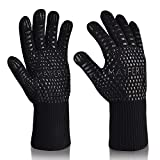 BBQ Grill Gloves [Heat & Cooking Gloves] 932°F Extreme High Heat Resistant Grill Gloves Oven Baking Barbecue Grilling Gloves Extra Large long Cuff EN407 Certified Gloves Aramid & Silicone Gloves