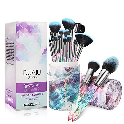 Brochas de Maquillaje Profesionales FILY DUAIU Brochas Maquillaje 15 piezas Premium Cerdas sintéticas Juego de mangos de cristal brochas maquillaje con caja de regalo