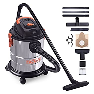 TACKLIFE Wet Dry Vacuum, 5 Gallon, 5.5 Peak HP, 1000W Stainless Steel Wet/Dry VAC, Over 320 Square Feet Clean Range, 4-Layer Filtration System, Anti-Static Chain, All Accessories Included