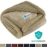 PetAmi Waterproof Dog Blanket for Medium Dogs, Puppies, Small Cats | Soft Sherpa Fleece Pet Blanket Throw for Sofa, Couch | Thick Durable Pet Bed Cover, Floor Mat 30 x 40 inches (Taupe Taupe)