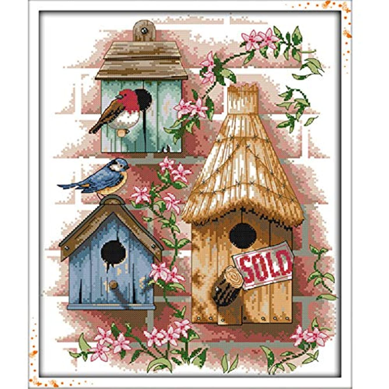 Stamped Cross Stitch Kits - Counted Cross Stitch Kit, Cross-Stitching Patterns Log Cabin 11CT Pre-Printed Fabric - DIY Art Crafts & Sewing Needlepoints Kit for Home Decor 17''x21''