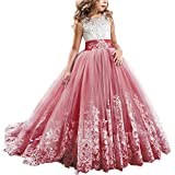 Girls Toddler Pageant Dresses for Teens Lilac Flower Girls Dress Lovely First Communion Long Sleeves Pink Prom Gown #A Red 12-13Y