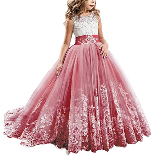 Girls Toddler Pageant Dresses for Teens Lilac Flower Girls Dress Lovely First Communion Long Sleeves Pink Prom Gown #A Red 10-11Y
