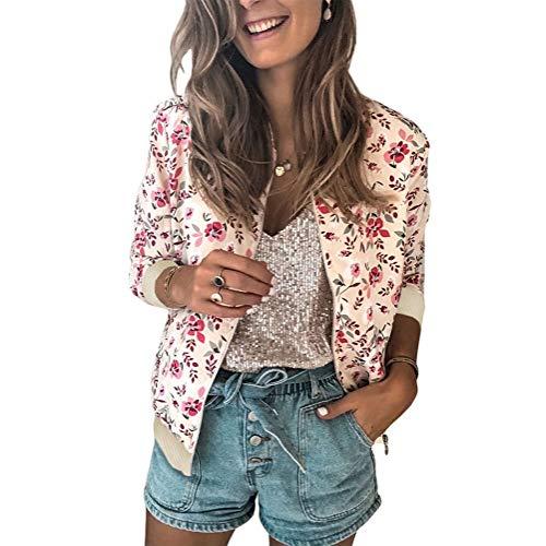 Tomwell Mujer Chaqueta Estampado Floral Camiseta de Manga Larga Classic Slim Fit Baseball Chaqueta Biker Bomber Jacket Corta Rosa 36