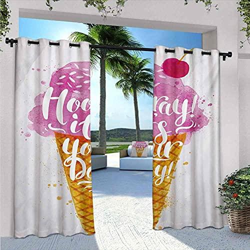 Gelato impermeabile tenda gazebo Hooray! Its Your Day Phrase con Ice Cream Cone Cherry Flavor Print, resistente alle intemperie, non sbiadiscono, W24 x L96 pollici fucsia ambra perla
