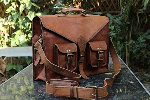 RKH 15 INCH Vintage Men's & Women Brown Handmade Leather Briefcase Best Laptop Messenger Bag Satchel (Brown 2)
