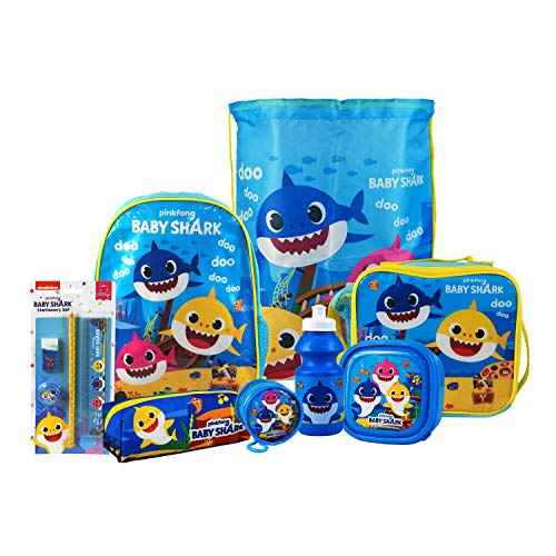 Baby Shark 8PC Back to School Bundle - inc Backpack, Drawstring Sports Bag, Insulated Lunch Bag, Sandwich Box, Water Bottle, Coin Pouch, Pencil Case & Stationery Set.