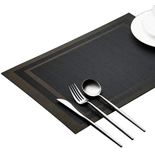 Cratone Deluxe Sets de Table en PVC isolés Flexibles et résistants à la Chaleur pour casseroles et poêles, Noir, 30cm*45cm