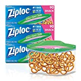 Ziploc Snack Bags with New Grip 'n Seal Technology, Ideal for Packing Cookies, Fruits, Vegetables, Chips and More, 90 Count, Pack of 3 (270 Total Bags)