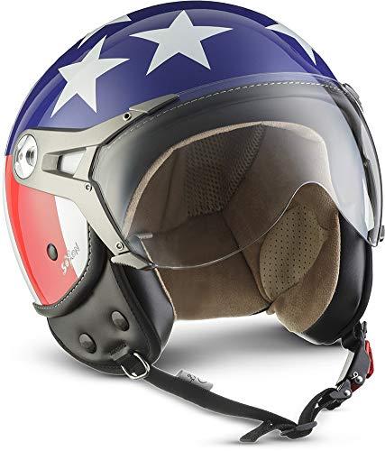 "SOXON® SP-325 ""Usa"" · Jet-Helm · Motorrad-Helm Roller-Helm Scooter-Helm Moped Mofa-Helm Chopper Retro Vespa Vintage Pilot Biker Helmet Brille · ECE 22.05 Visier Schnellverschluss Tasche S (55-56cm)"