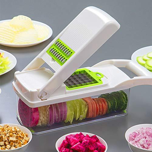 Vegetable Chopper, Multifunction Vegetable Mandoline Slicer Dicer With 7 Blades, Best For Potato, Onion Etc,White