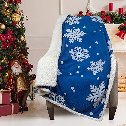 Malinad Christmas Blanket Sherpa Throw - 50x60 Blue Snowflake - Soft, Cozy, Warm - Perfect for Holiday Clearance - Winter Decorations for Home