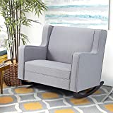 Esright Upholstered Rocking Chair with Spacious Wingback, Nursery Glider Rocker Provides Comfortable Relax for Living Room, Bedroom, Baby Room, Double Wide Rocker Grey