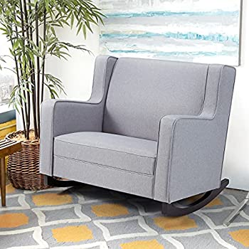 Esright Upholstered Rocking Chair with Spacious Wingback Nursery Glider Rocker Provides Comfortable Relax for Living Room Bedroom Baby Room Double Wide Rocker Grey…