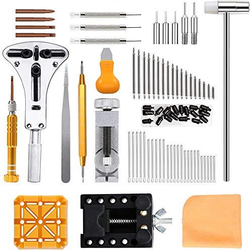 Viccess 210pcs Kit de Reparación de Relojes,Herramientas de Relojero Profesional para Barra de Resorte, Kit de Herramientas de Reemplazo de la Batería del Relojo