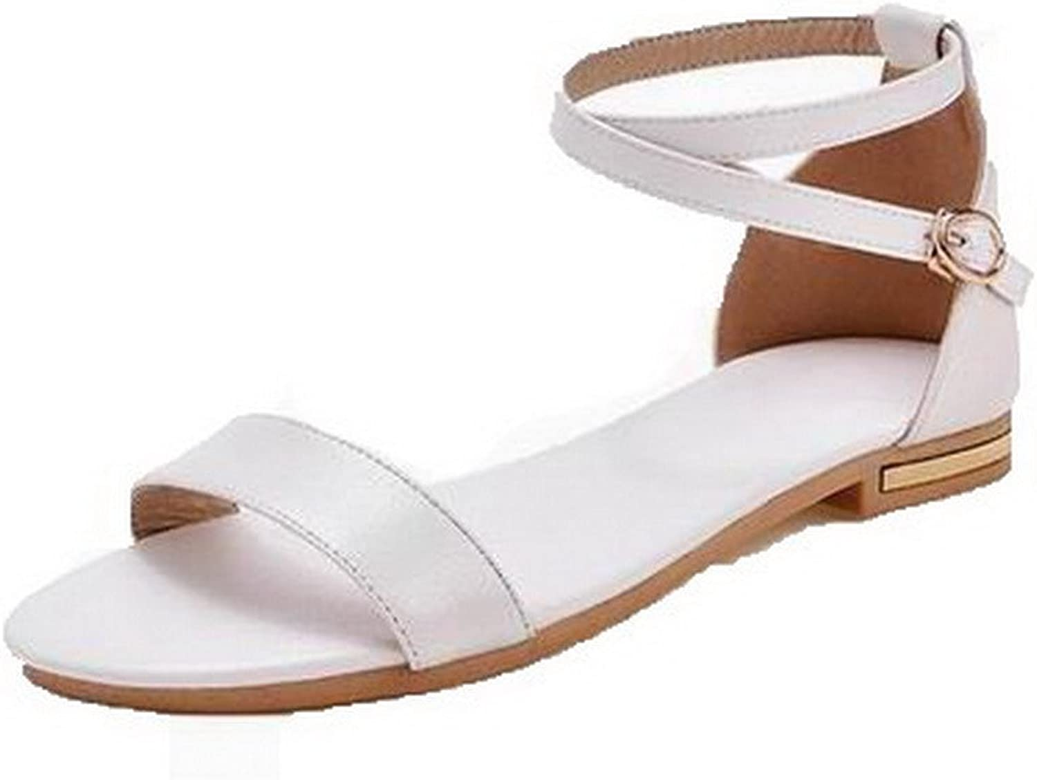 WeenFashion Women's Low-Heels Pu Solid Open-Toe Sandals, White, 34