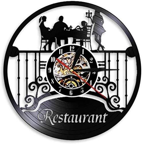 zgfeng Reloj de Pared de Vinilo Disco de Vinilo Colgante de Pared Restaurante Signo decoración Vintage Moderna-con LED