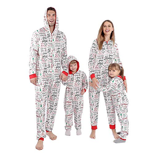 Matching Christmas Onesies Pajamas for Family, Holiday PJs for Women/Men/Kids/Couples/Adult, Vacation Cute Printed Loungewear Sleepwear (White-Snowman, Men XXL)