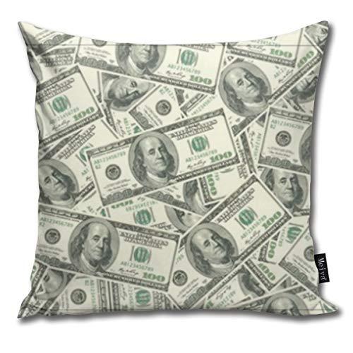 Kissenbezug mit 100 Dollar Geldschein-Muster, dekorativer Kissenbezug für Wohnzimmer, Sofa, Schlafzimmer, Auto, 45,7 x 45,7 cm