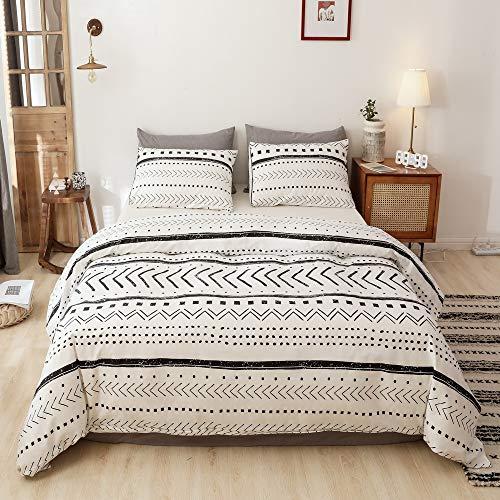 Smoofy Comforter Set, Boho Aztec Folkloric Art Pattern Bedding with Soft Microfiber Fill Bedding, 1 Comforter & 2 Pillowcases(White & Black)