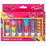 GirlZone Rainbow Fruity Lip Gloss Makeup Set for Kids and Girls, Great Birthday Gifts For Girls