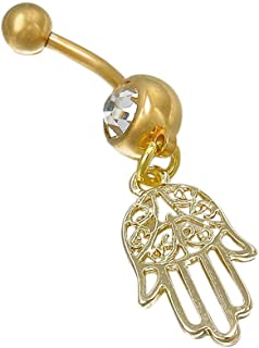 Hamsa Hand of Fatima Navel Ring Belly Palm Bar Ring Dangle Body Piercing SP | Color - Gold