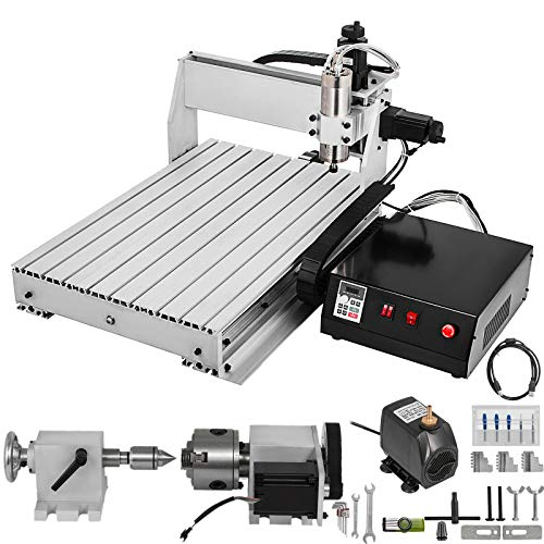 VEVOR CNC Router Kit 4 axis CNC Router Engraver 6040 Desktop Engraving Wood Milling Machine with USB for 3D Wood DIY Artwork Cutter(Effective Working Travel:600x400x70mm)