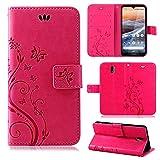 betterfon   Nokia 3.2 Hülle Flower Hülle Handytasche Schutzhülle Blumen Klapptasche Handyhülle Handy Schale für Nokia 3.2 Pink