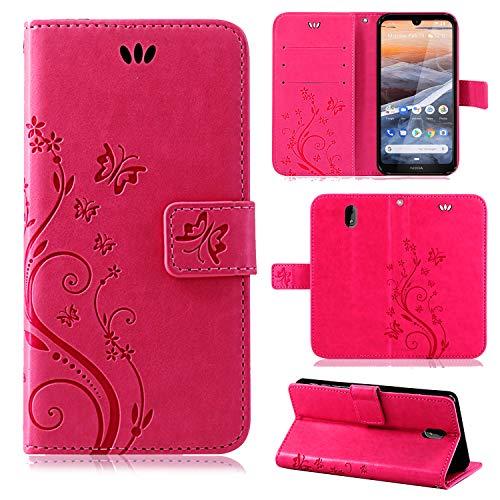 betterfon | Nokia 3.2 Hülle Flower Case Handytasche Schutzhülle Blumen Klapptasche Handyhülle Handy Schale für Nokia 3.2 Pink