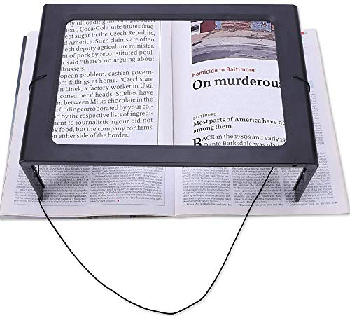Full Page 3X Large Magnifying Glass Hands Free Rectangular Reading Magnifier with 12 LED Lights Foldable Desktop Portable Magnifier Ideal for Reading Seniors