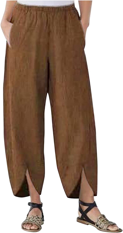 aihihe Women's Casual Work Trousers Summer Capri Pants Wide Leg Cropped Harem Loose Fit Palazzo Pajama Yoga Pants
