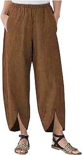 Damen Cordhose mit weitem Bein, Gerade Hosen Gummibund Damen mit Lockeren Taschen Breites Bein Yoga Sporthosen Damen Bermu...