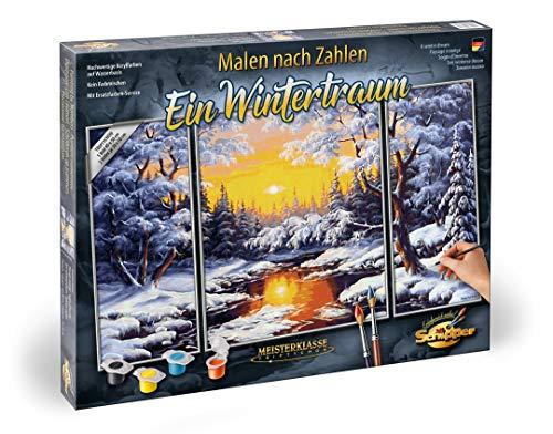 Schipper 609260786 - Malen nach Zahlen - Ein Wintertraum - Bilder malen für Erwachsene, inklusive Pinsel und Acrylfarben, Triptychon 50 x 80 cm