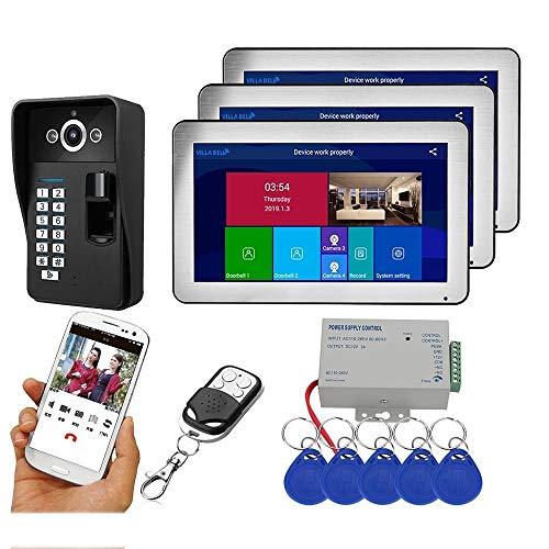 Timbre de vídeo WiFi, intercomunicador inalámbrico inteligente de 10 pulgadas con cámara, tarjeta de acceso de huella digital, desbloquear la aplicación remota para iOS y Android