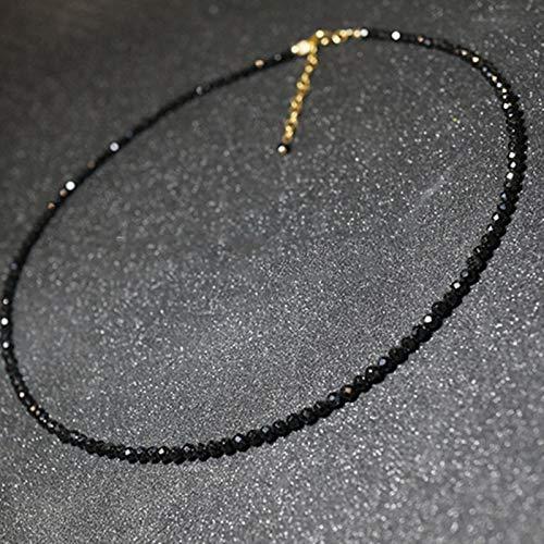 AQUALITYS Gargantilla Corta con Cuentas de Piedra Negra Simple a la Moda para Mujer, Collar de Cadena de clavícula para Mujer, Collar, joyería