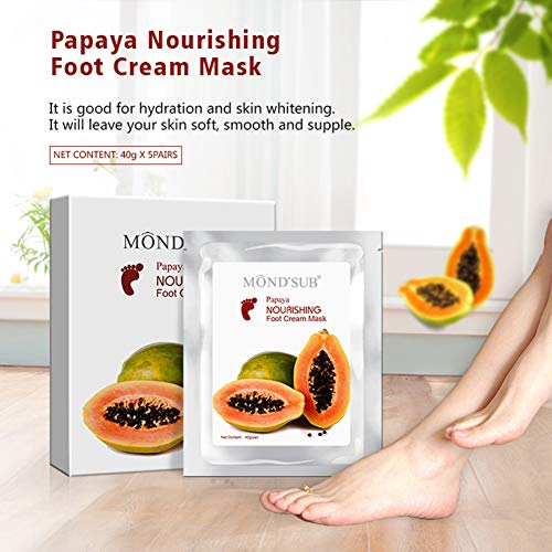[5 Wertepaare] MOND'SUB Moisturizing Feet Masken - Professionelle Baby Feet & Spa Qualität Fußbehandlung Socken für rissige Fersen und trockene Haut Füße - Repair Tief mit natürlichen Papaya Öl