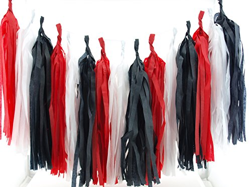 Magician Birthday Party Tassels, Magic Party Tissue Garland (Set of 15) - Black & Red Children's Magician Party Supplies, Magic Show Bunting Banner, Mad Hatter Tea Party Paper Decorations