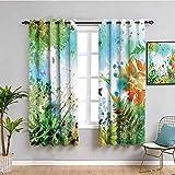 Decoración de país Paneles de cortina de helechos y pétalos de naturaleza floreciente complejo fantasía mixto digital acuarela diseño imagen cortina de baño multi W63 x L72 pulgadas