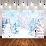 Avezano It's Cold Outside Baby Shower Backdrop Winter Snowflake Baby Shower Background Polar Bear and Penguin Photo Booth Studio (6x4ft)