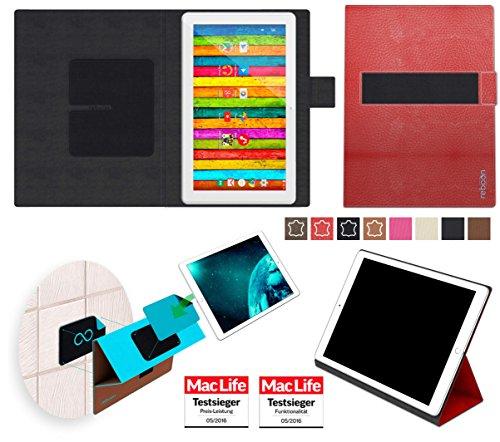 reboon Hülle für Archos 101d Neon Tasche Cover Case Bumper   in Rot Leder   Testsieger