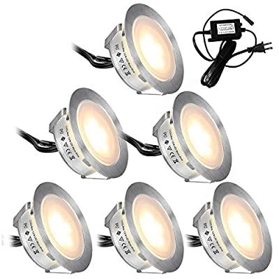 Recessed LED Deck Lights Kits 6 Pack,SMY(Upgrade Version) In Ground Outdoor LED Deck Lighting Waterproof IP67,Low Voltage LED Lights for Garden,Yard Steps,Stair,Patio,Pool Deck,Kitchen Decoration